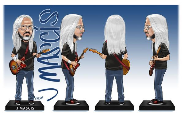 J Mascis throbblehead artist drawing